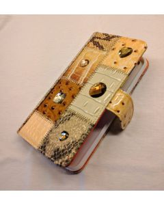 Michelangelo Beige Leather & Crystal Phone Case for IPhone 6+