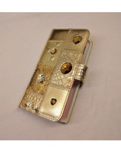Michelangelo Gold Leather & Crystal Phone Case for IPhone 6+