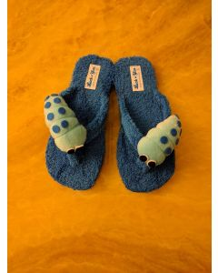 Women Slipper Caterpillar Blue Handmade