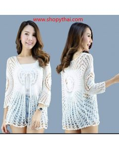 Women's Crochet White Cotton Tunic #03