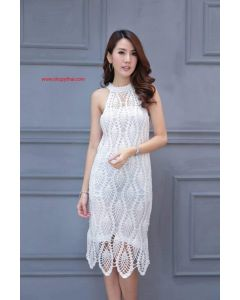 Women's Crochet White Cotton Long Dress