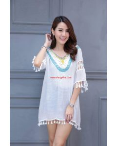 Women's White Cotton Tunic #09
