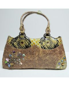 Michelangelo Mix Color Leather & Crystal Women Bag