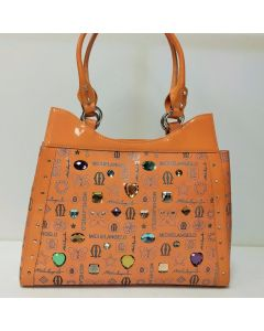 Michelangelo Orange Leather & Crystal Women Bag