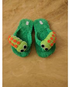 Women Slippers Caterpillar Green Handmade