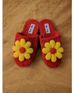 Women Slippers Yellow Flower Handmade