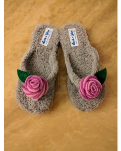 Women Slippers Grey Rose Handmade