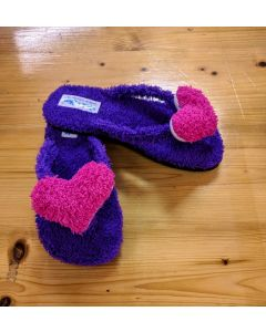 Women Slippers Pink Heart Handmade