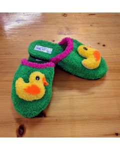 Women Slippers Green Duck Handmade