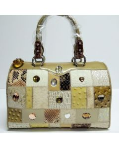 Michelangelo Beige Leather & Crystal Women Bag