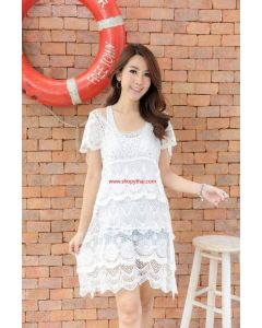 Women's Crochet White Mini Dress  #10