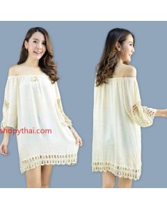 Women's Beige Cotton Tunic #01