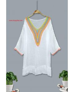 Women's White Cotton Tunic #02