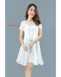 Women's Crochet White Cotton Mini Dress